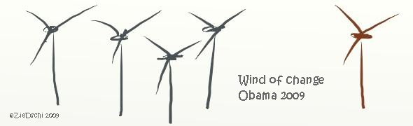 Cartoon Klimawandel Obama Windrad