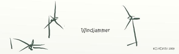 Cartoon Klimawandel Windrad Windjammer